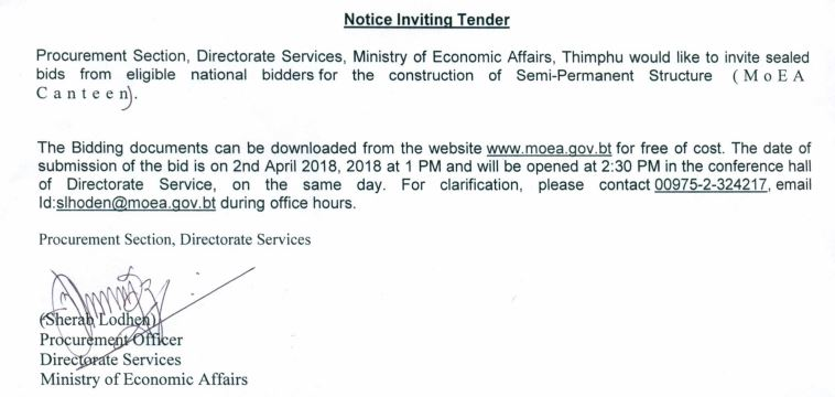 Notice Inviting Tender for Construction of Semi-Permanent