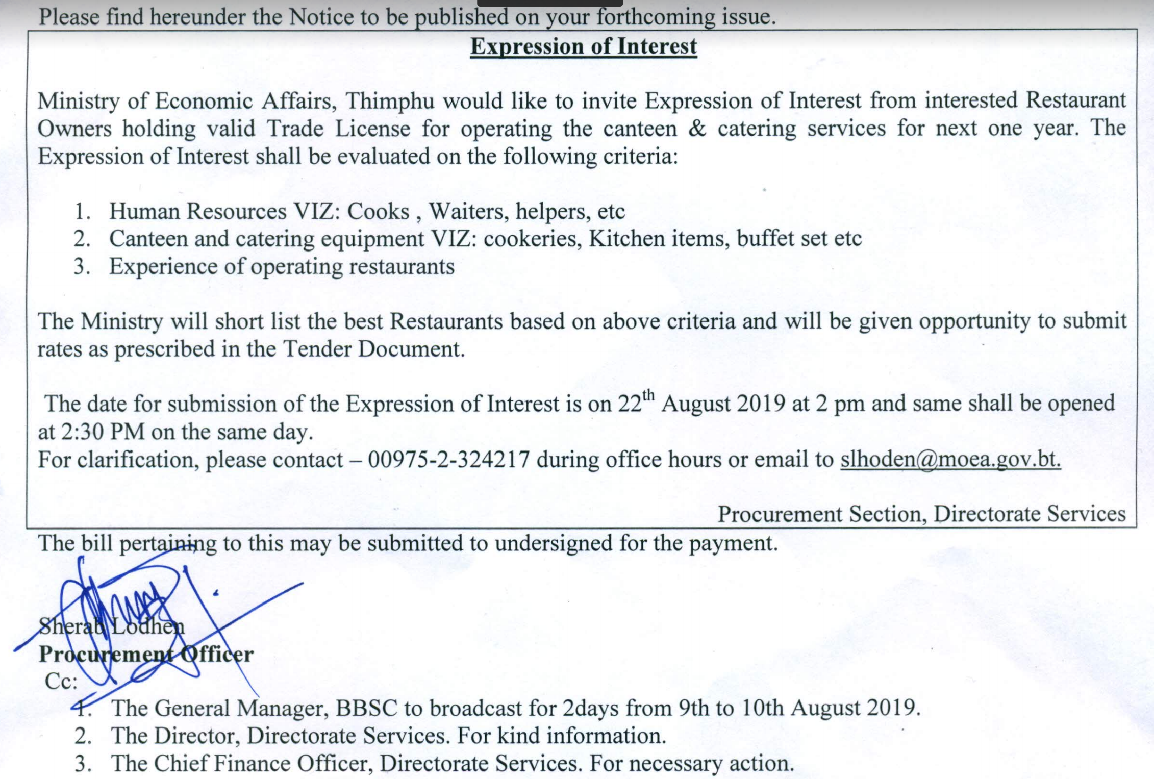 Expression of interest for canteen & catering service