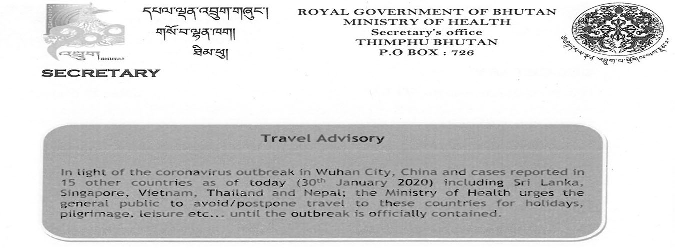 Notification for CoV Outbreak Travel Advisory